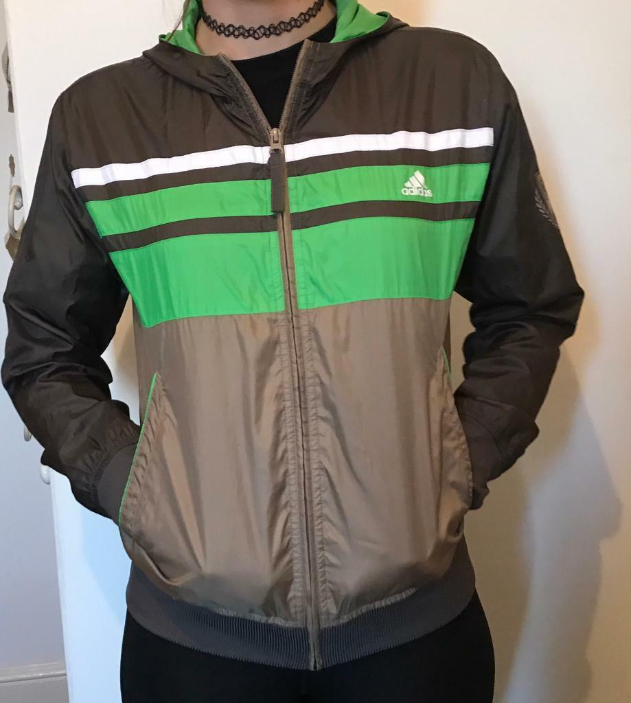 cba69d29df50 Adidas jacket with hood thin light weight zip up green brown black summer  hoodie