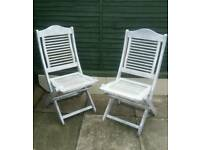 Pair of White shabby chic garden chairs