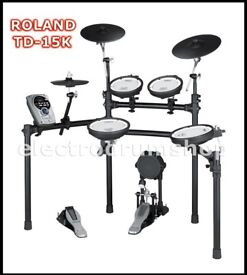 ROLAND TD-15K vdrums electronic drum kit & pedal NICE kit lovely set pre TD-25 and 17