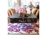 Industrial Retro Shabby Chic Table Trunk Vintage re-purposed Workman's Tools Chest Dansette Legs