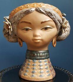 Vintage Gres Lladro Vase Girl Head Lladro Byzantine Head #01011106 Retired 1986