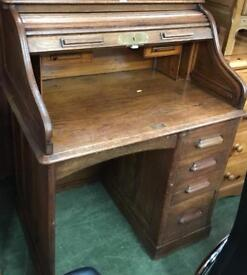 Antique oak tambour S roll top Writing Desk Bureau
