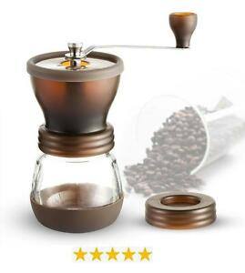 Manual Coffee Bean Grinder - Adjustable Fineness Ceramic Burrs for Home, Outdoor, Camping, Traveling