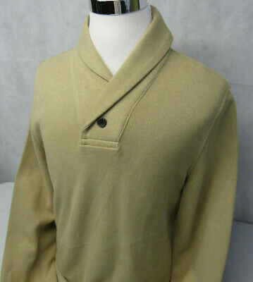 Nautica Sailing Pullover Cowl Shawl Neck L/S Beige Sweatshirt Sweater Mens L