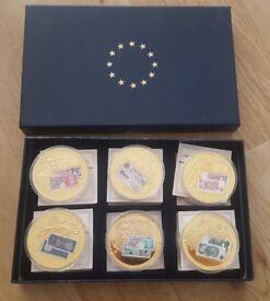 Set of supersize British banknotes coins