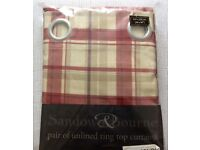 "Two Pairs Red and Cream 90""x90"" Ring Top curtains £20 per pair"