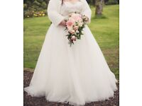 Beautiful sequined white wedding dress (plus size)