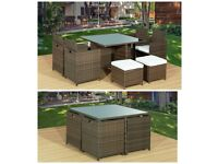 BRAND NEW 9Pc CUBE RATTAN GARDEN FURNITURE SET CHAIRS SOFA TABLE OUTDOOR PATIO 8 SEATER
