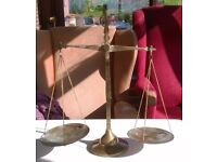 ORNATE BRASS WEIGHING SCALES