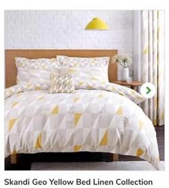 Dunelm skandi geo yellow bedding and curtains BRAND NEW!!!
