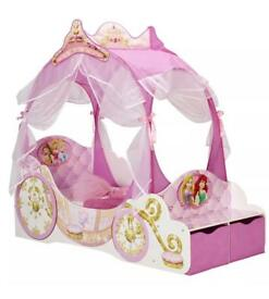NEW DISNEY PRINCESS CARRIAGE TODDLER BED WITH STORAGE AND WITHOUT MATTRESS