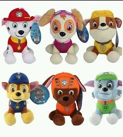 BRAND NEW PAW PATROL Complete set of 6 soft plush toys