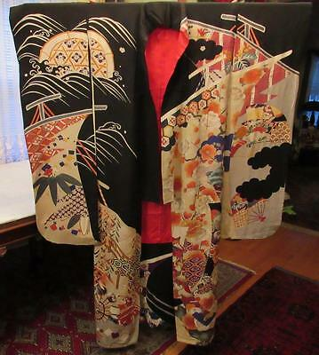 VINTAGE 1940s JAPANESE SILK KIMONO UCHIKAKE WEDDING GOLD EMBROIDERED FLOWERS