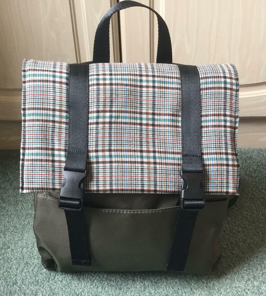 Rucksack Backpack Bag With Tartan Detail