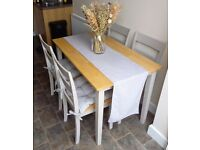 Oak top dining table and 6 chairs