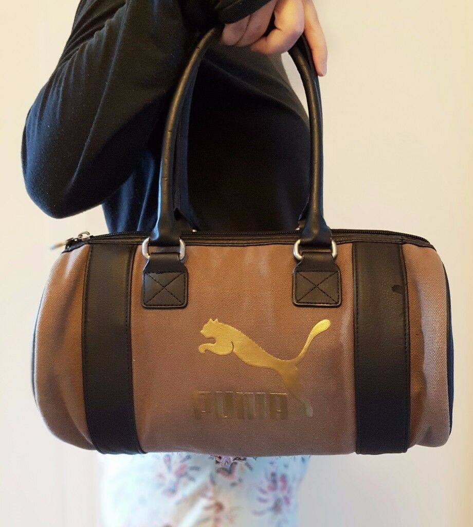 Small Puma Ladies Brown & Black Handbag - Gold PUMA logo *Used
