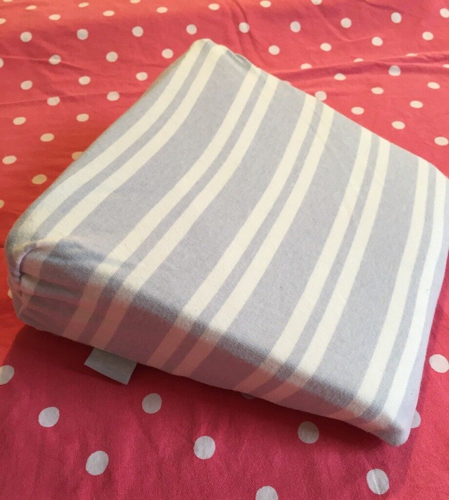 Pregnancy/maternity pillow bump wedge.sleep aid.blue stripey cover..knee/back support