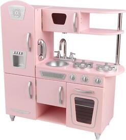 Girls play wooden kitchen kidkraft vintage