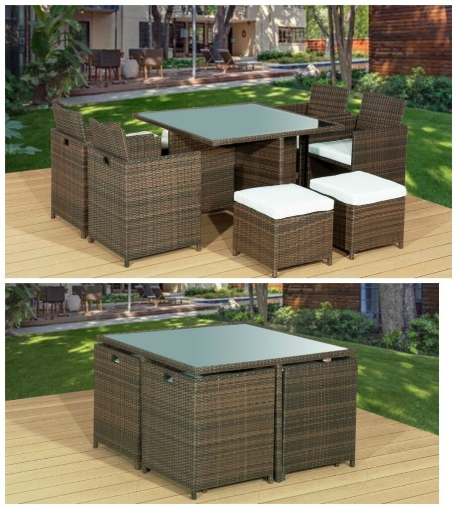 Brand new brown 9pc cube rattan garden furniture set for Outdoor furniture 8 seater