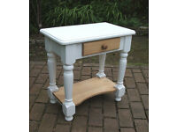 Vintage Solid Pine Side Table / Bedside Table with Drawer - Shabby Chic - Can deliver