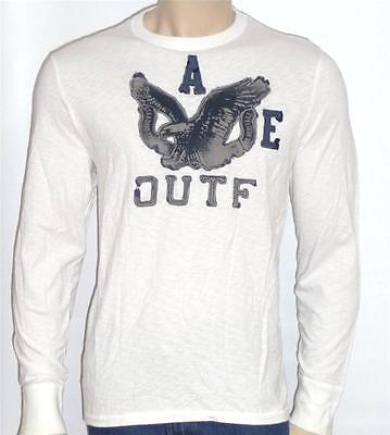 American Eagle Outfitters AEO Mens White Applique Long Sleeve T-Shirt New NWT - Mens Eagle Applique