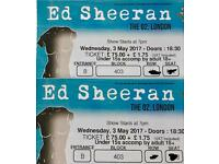 2 Ed Sheeran tickets London o2 3/5/17