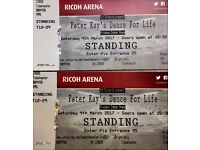2 Peter Kay's Dance for Life Tickets - Coventry Ricoh Arena Saturday 4th March
