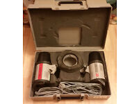 TWO cased sets of ELINCHROM studio flash + Manfrotto, Canon, Nikon, Benbo Tripod, Coutenay, etc