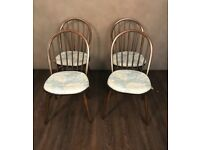Set of 4 ercol retro dining chairs with original pads