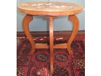 Antique Vintage Indian Inlaid Marquetry Wood & Etched Bone Folding Coffee Occasional Side Lamp Table