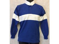"""Mens Rugby Shirt Stripe Long Sleeve Rugby Jersey Polo Shirt Top Size 36"""""""