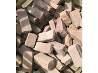 Pink Sandstone Tumbled Walling Setts