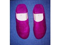 Hand-made Embossed leather babouche slippers from Morocco