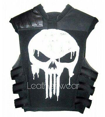 Punisher War Thomas Jane Tactical Black Leather Vest Jacket Halloween Costume