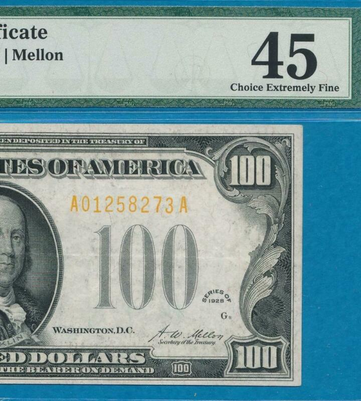 $100. 1928 GOLD SEAL GOLD CERTIFICATE BEAUTIFUL PMG XF45 NO COMMENTS