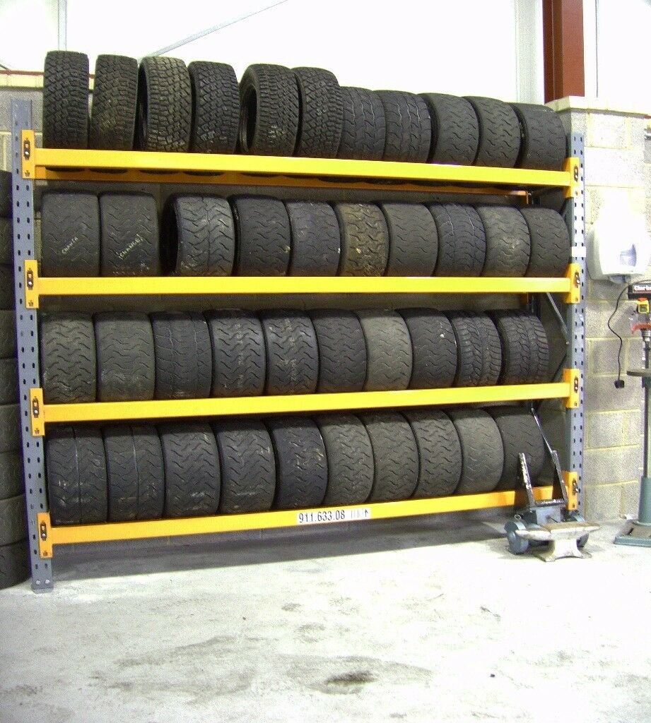TYRE STORAGE RACK RACKING. HEAVY DUTY-STRONG. BRITISH MADE. 9ft 2in LONG x 8ft HIGH (280cm x 247cm)