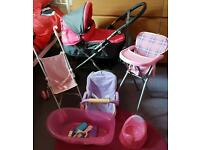 Silver Cross toy pram and various other doll toys/accessories