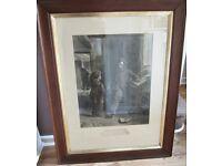 Large Antique Old Vintage NICOL Art Print BOTH PUZZLED c19th Teach