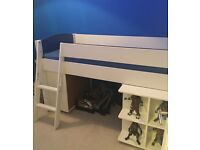 Stunning blue and white Bensons For Beds cabin bed with desk and storage cube