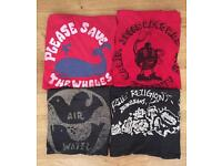 Four authentic, brand new men's True Religion designer T-shirts. All Large except skull print is XL