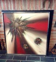 R Parret Mid Century Modern Abstract Painting 1970's