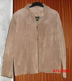 Tan Suede Leather Jacket Size 18