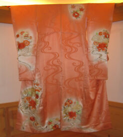 Vintage Japanese Kimono Furisode in Orange Peach Silk with Floral Embroidery