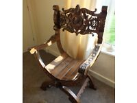 Stunning 1890 Antique X Framed Craved Throne Chair