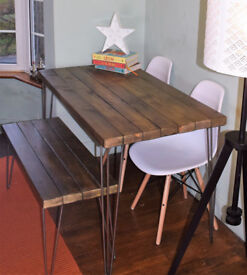 Chestnut Industrial Hairpin Legs Kitchen Table x 2 White Chairs And Bench