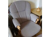 Mamas & Papas Dutailier Nursing Rocking Wooden Glider Chair with matching stool-Used- Good condition