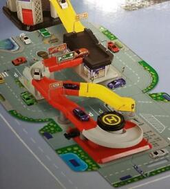Big city garage , race ramp and travel set