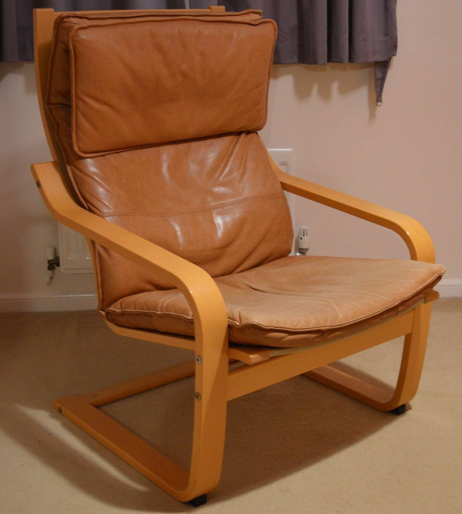 IKEA POANG chair, tan leather cushion and footstool cushion  in