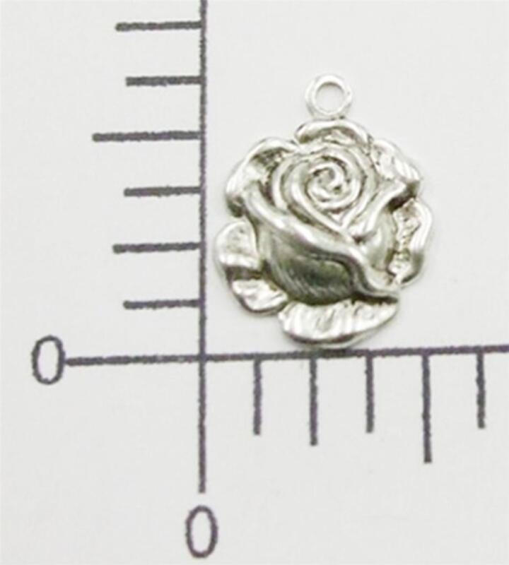 29924        6 Pc  Matte Silver Oxidized Small Rose Flower Charm Jewelry Finding