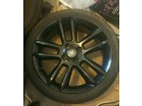 "SET OF 4 17"" CORSA LIMITED EDITION BLACK ALLOYS WITH TYRES 4 STUD"